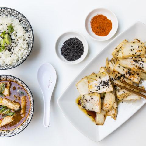 Mapu Tofu, riso basmati, verdure wok